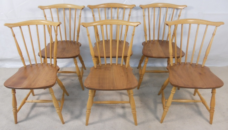Set of Six Ercol Light Elm Kitchen Dining Chairs - SOLD