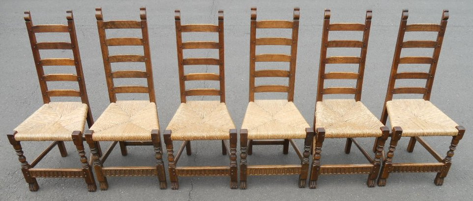 Incredible Set Of Six Oak Craftsman Made Ladderback Rush Seat Dining Chairs Caraccident5 Cool Chair Designs And Ideas Caraccident5Info
