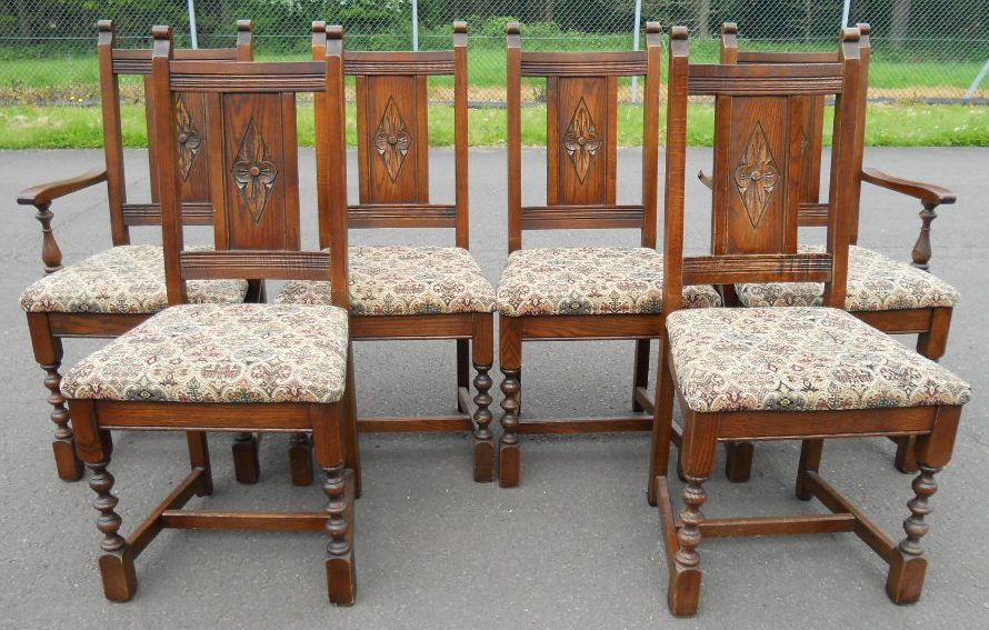 Set of Six Oak Dining Chairs by Old Charm - SOLD