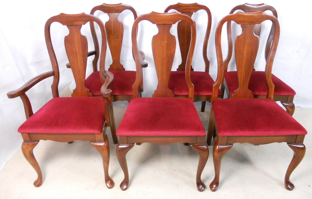 Six Queen Anne Style Mahogany Dining Chairs, Queen Anne Mahogany Dining Chairs