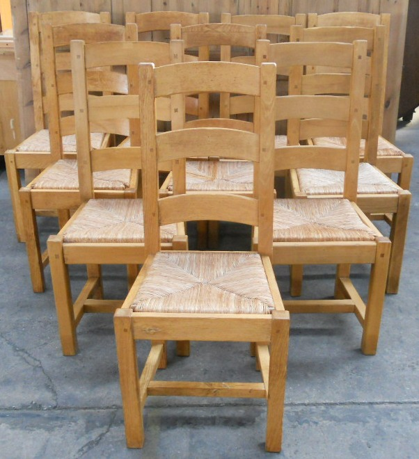 buy online a918b f0dfb Set of Ten Light Oak Ladderback Rush Seat Dining Chairs ...
