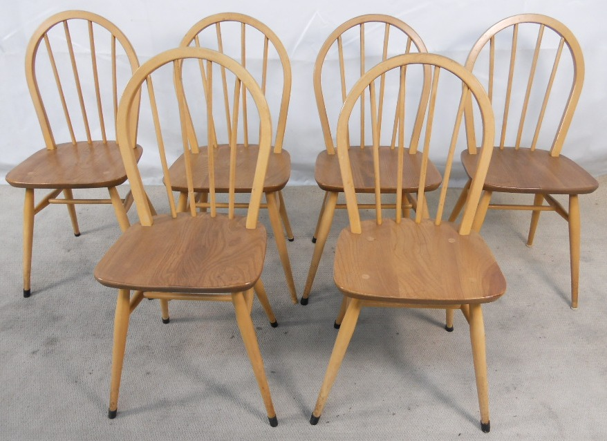 six light elm windsor style stickback kitchen dining chairs sold