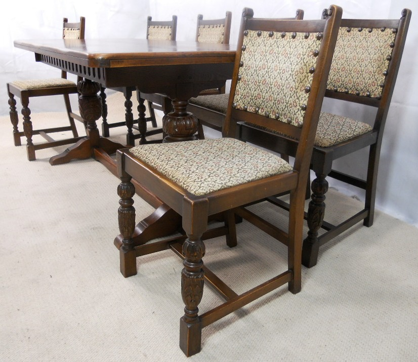 sold antique jacobean style oak beech refectory dining table six matching dining chairs. Black Bedroom Furniture Sets. Home Design Ideas