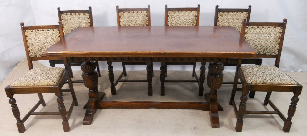 SOLD   Antique Jacobean Style Oak U0026 Beech Refectory Dining Table U0026 Six  Matching Dining Chairs
