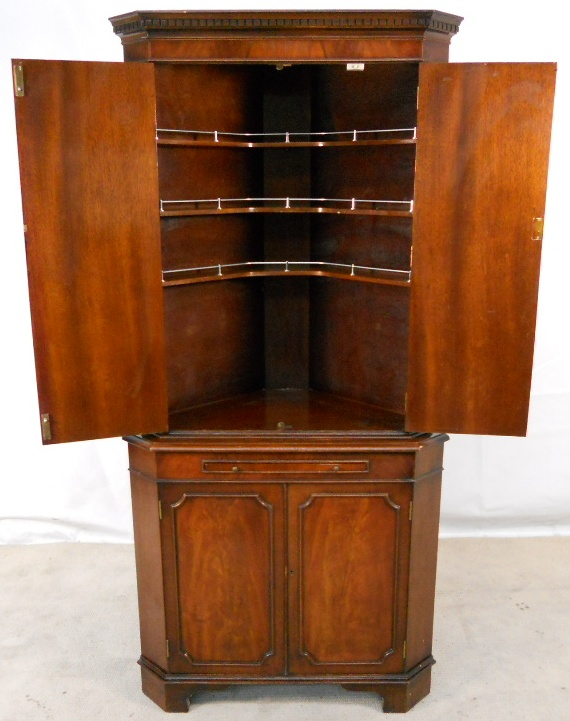 SOLD - Corner Cocktail Cabinet in Antique Georgian Style Tall Mahogany  Corner Cupboard - SOLD - Corner Cocktail Cabinet In Antique Georgian Style Tall