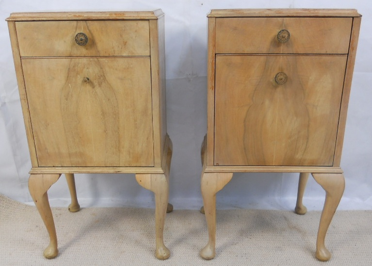 Sold Pair Bleached Walnut Shabby Chic Bedside Cabinets