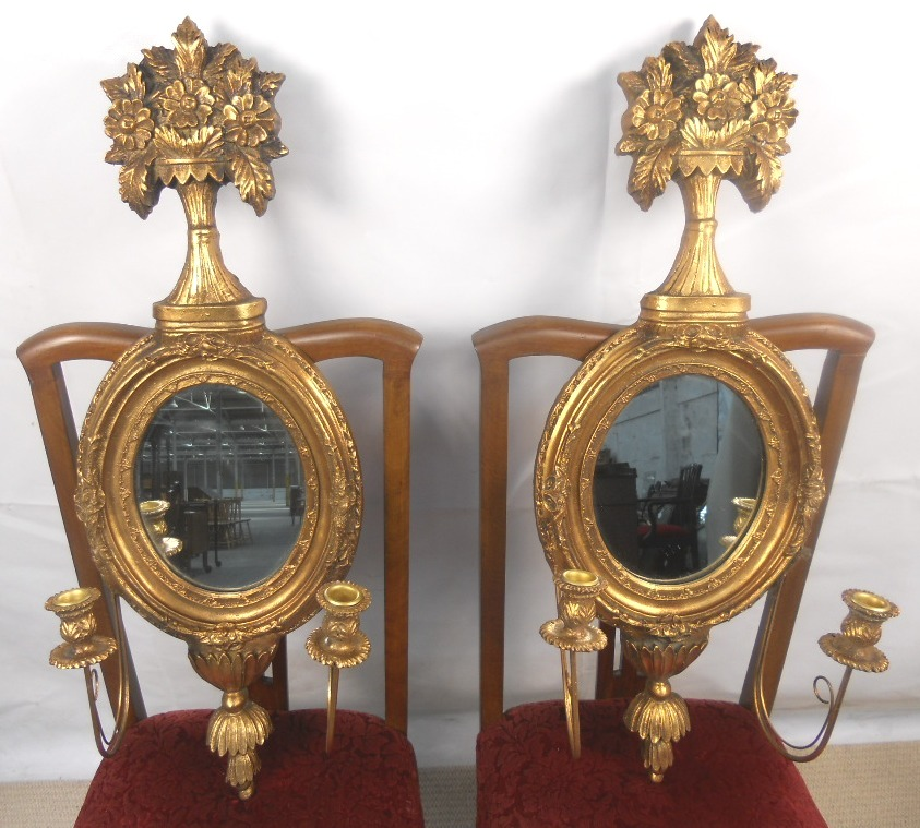 Sold Pair Gilt Ornate Oval Hanging Wall Mirrors With Candle Holders