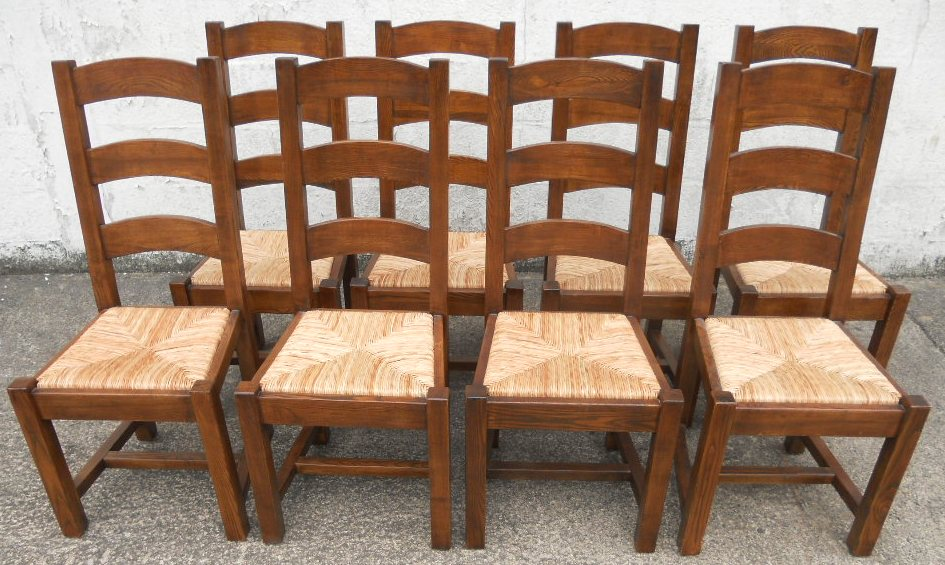 SOLD   Set Of Eight Heavy Oak, Ladderback Rush Seat Country Style Dining  Chairs .