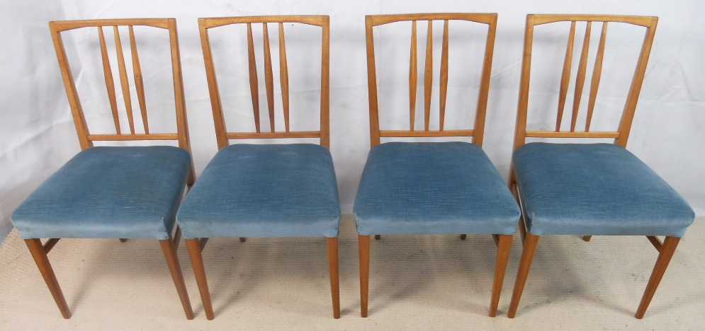 Sold Set Of Four 1960 S Retro Light Wood Dining Chairs By Gordon