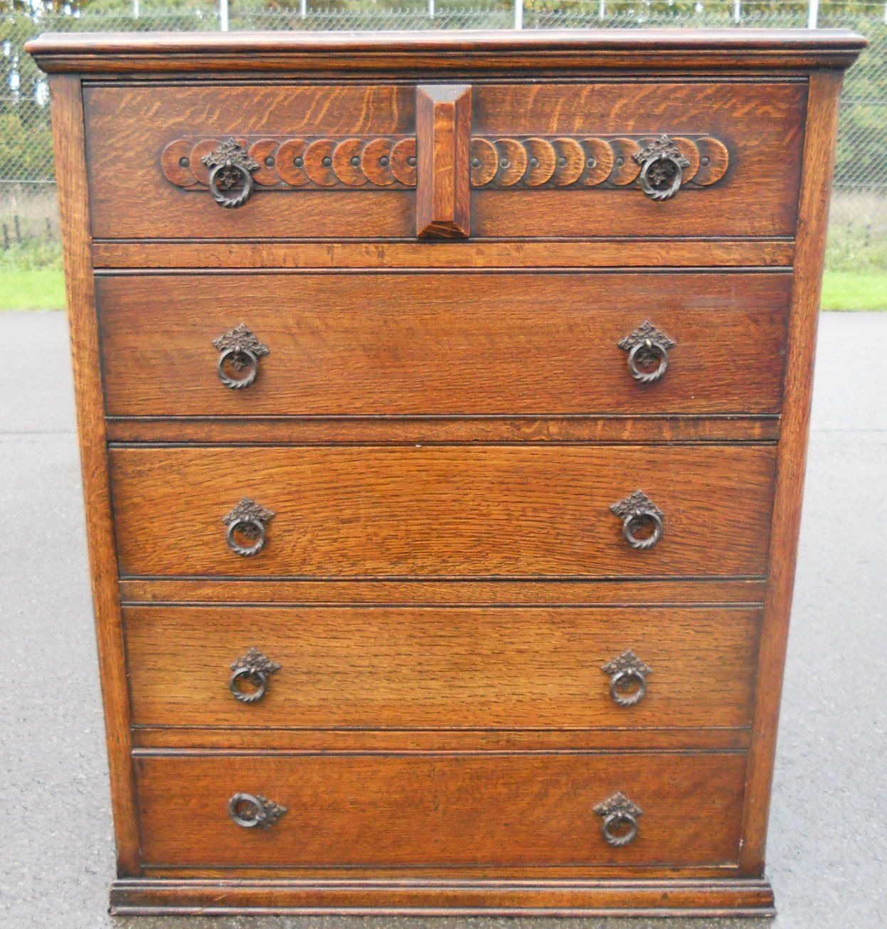 Sold Tall Oak Reproduction Chest Of Drawers
