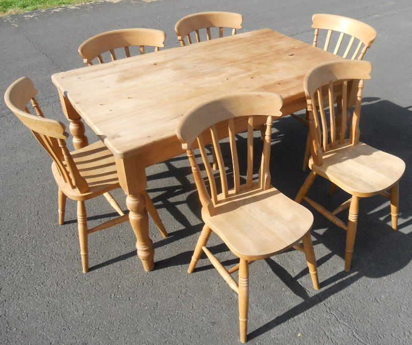 SOLD - Victorian Style Pine Kitchen Table & Six Chairs