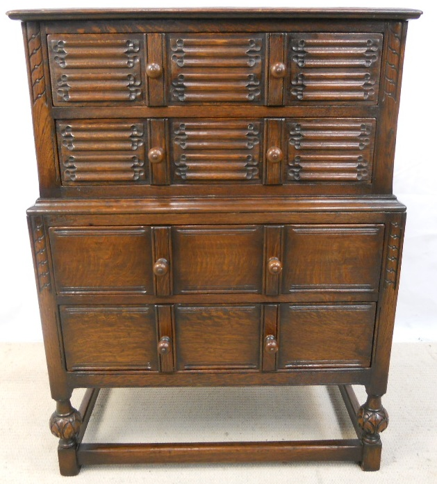 Solid Oak, Tall Chest of Drawers in the Antique Jacobean Style