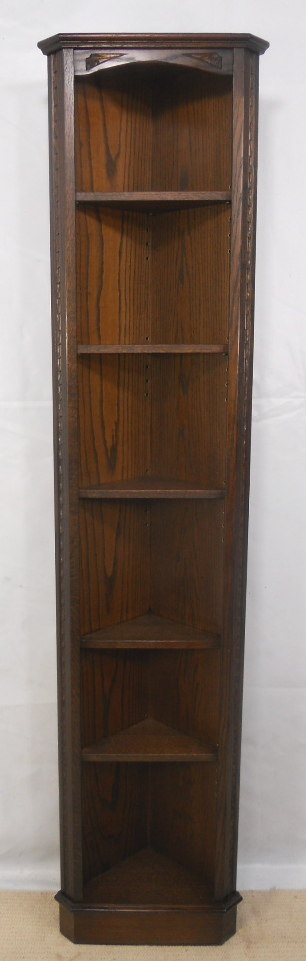 Tall Narrow Free Standing Dark Oak Corner Cabinet By
