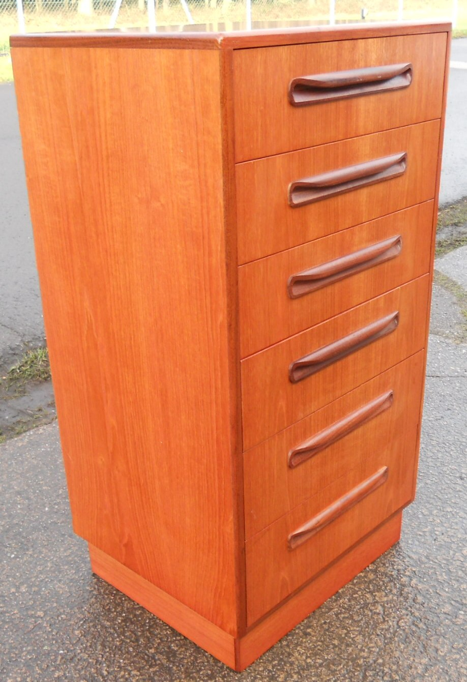 tall narrow teak chest of six drawers by g plan. Black Bedroom Furniture Sets. Home Design Ideas