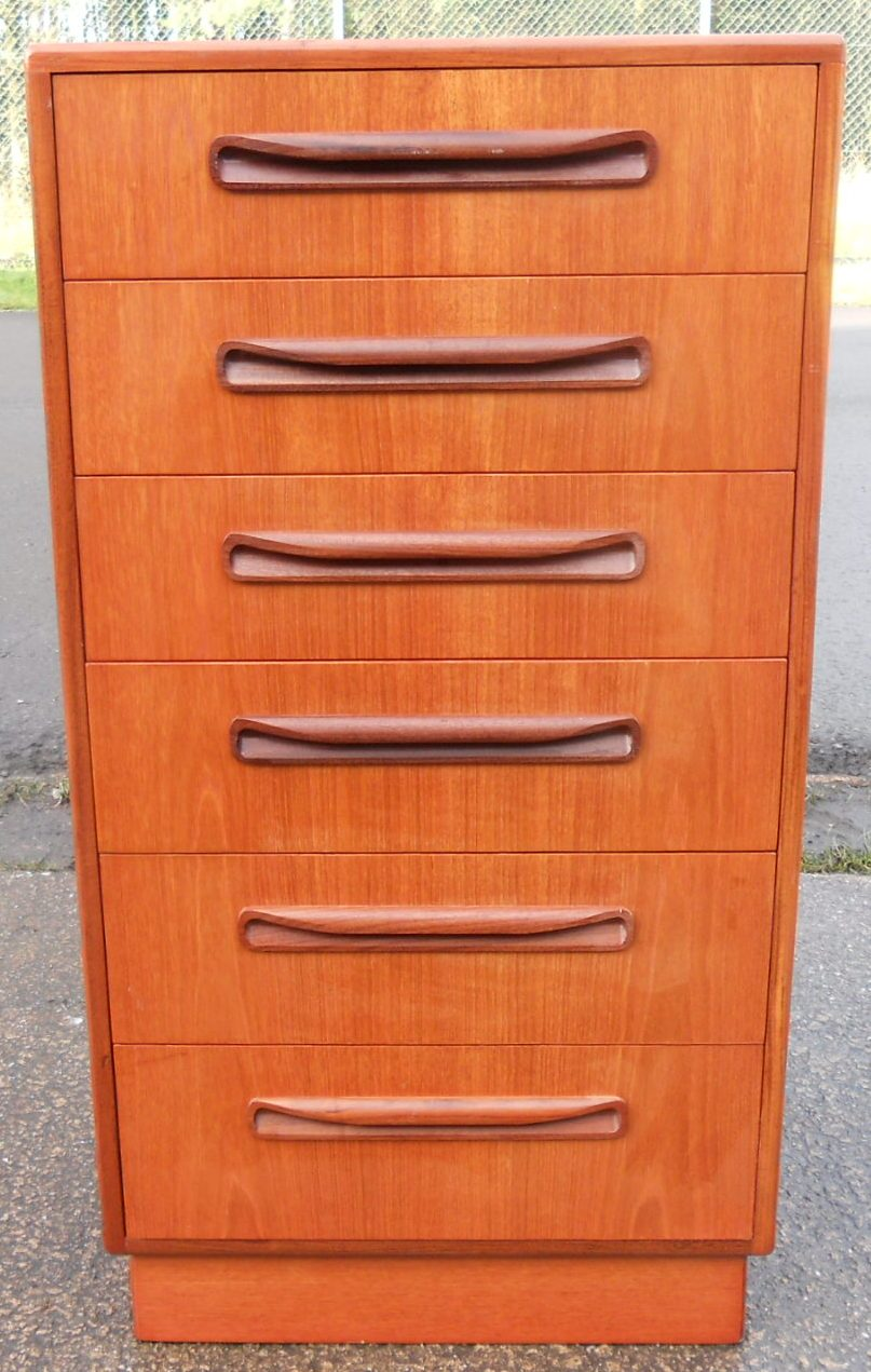 Tall Narrow Teak Chest Of Six Drawers By G Plan
