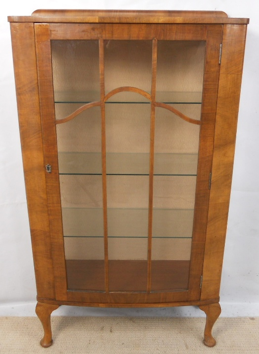 Walnut Narrow China Display Cabinet In The Antique Queen
